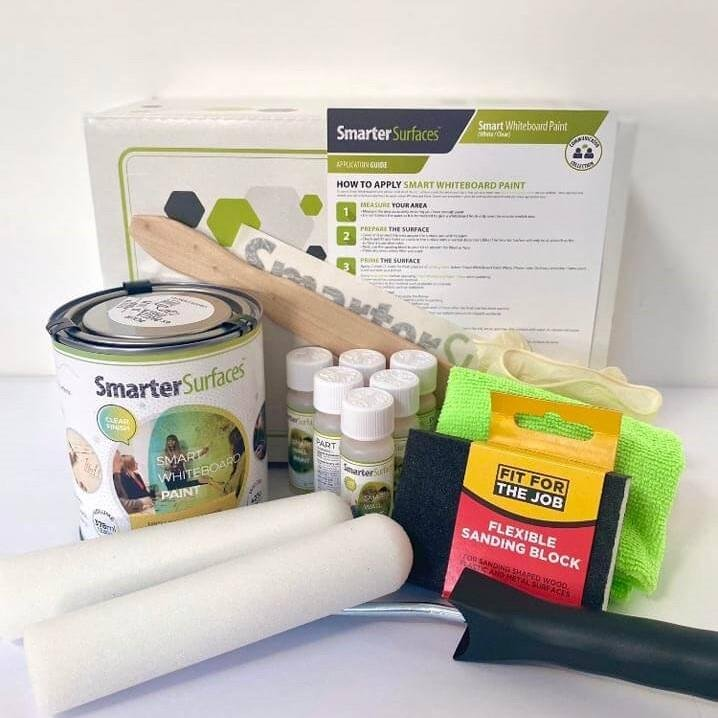 smart whiteboard paint clear full kit contents with box and application guide
