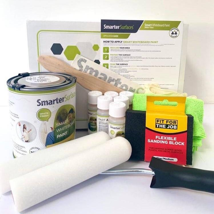 smart whiteboard paint white full kit contents and application guide