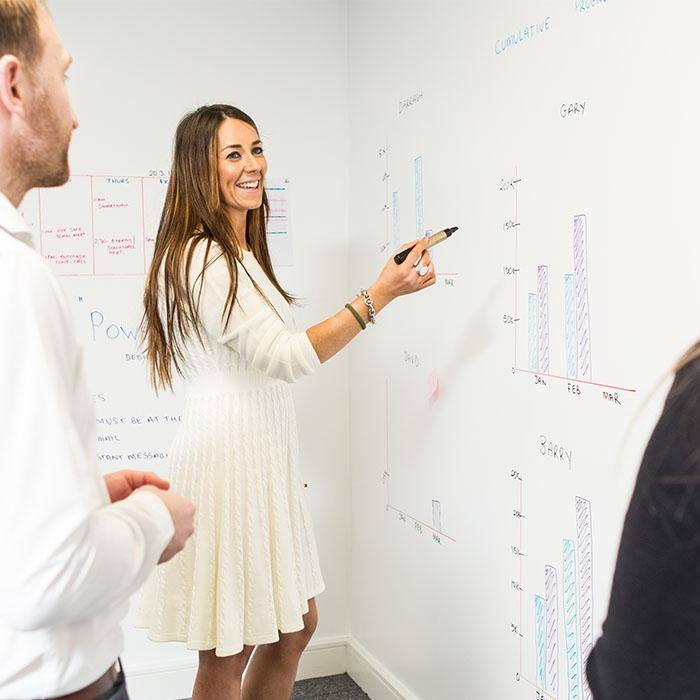 Smarter Surfaces Smart Whiteboard Paint used during sales meeting