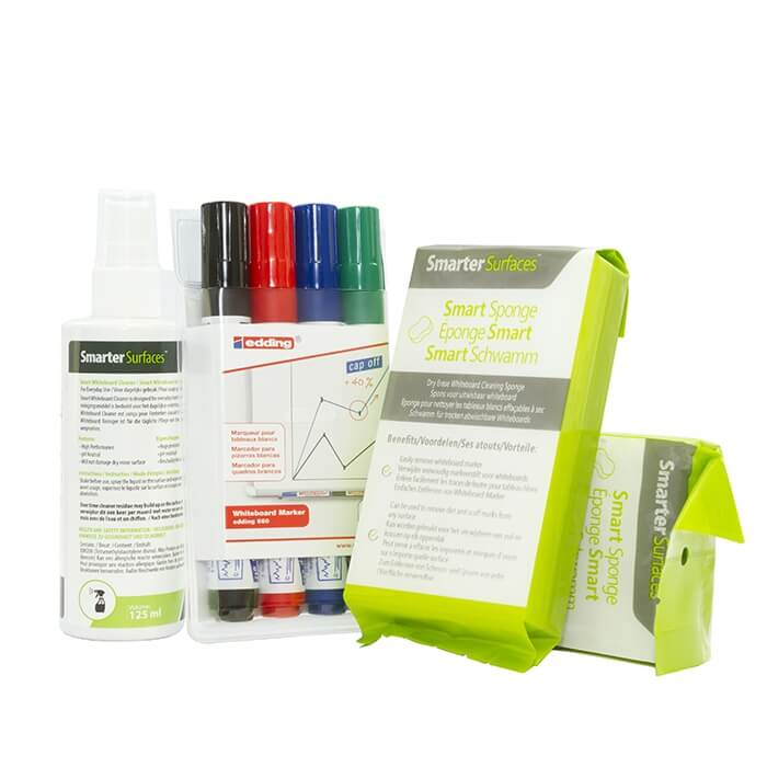 smarter surfaces user kit including dry erase markers, sponges and cleaning sprat