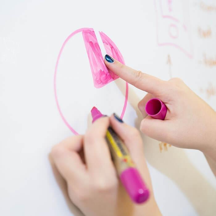 Person erasing marker off Smart Whiteboard Wallpaper