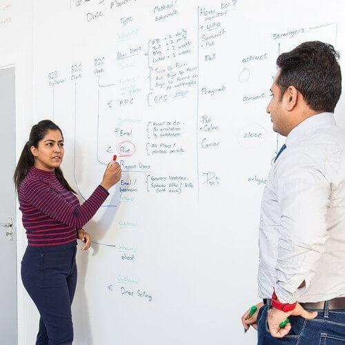 People using Smart Whiteboard Wallpaper Low Sheen during a meeting