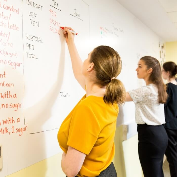 group of women writing on Smart Magnetic Whiteboard Wallpaper wall