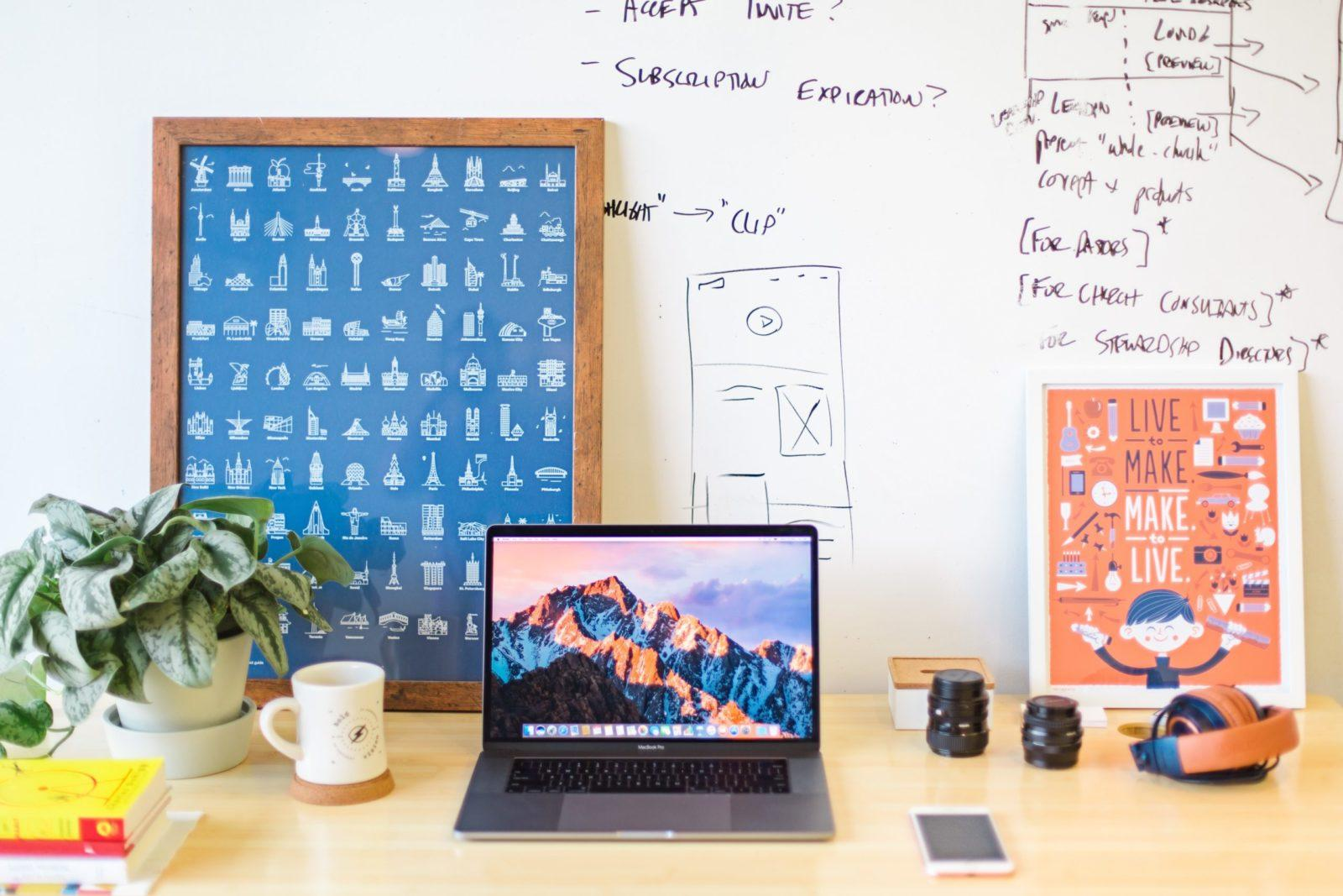 Smart Whiteboard Paint White being used in home office