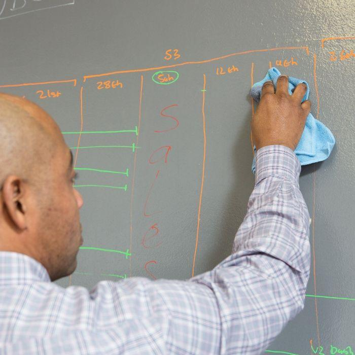 Dry erase paint with man wiping marker off
